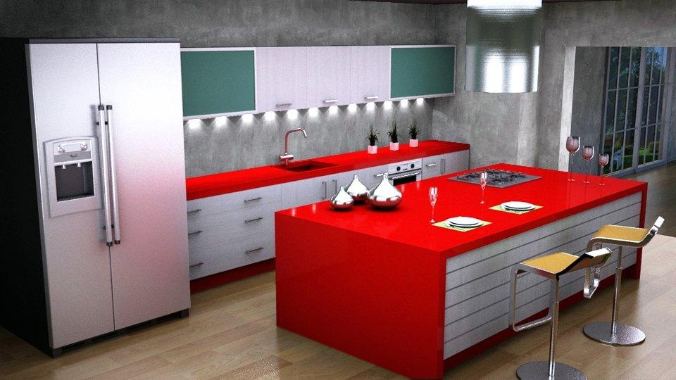 Cocina blanca encimera roja amazing cocina con muebles for Cocina blanca encimera roja